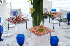 Table for party. Table set for a birthday party with hors d'oeuvres Royalty Free Stock Images