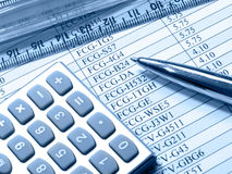 Free Table, Pen, Ruler And Calculator (blue) Royalty Free Stock Photo - 10690765