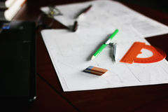 Table pencil divider Royalty Free Stock Photo