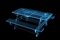 Table pic-nic 3D xray blue. Transparent Stock Image