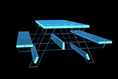 Table pic-nic 3D xray blue. Transparent Royalty Free Stock Photo