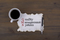 On the table a piece of paper and text. QMS concept: quality man Royalty Free Stock Photo