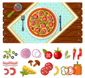 Table with pizza and ingredients icons Royalty Free Stock Image