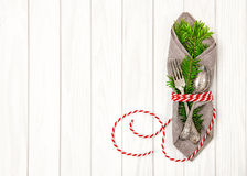 Table place setting christmas tree brunches decoration Royalty Free Stock Images