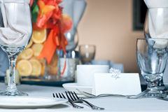 Table place setting with colorful center piece Stock Photos