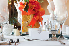 Table place setting with colorful center piece Stock Image