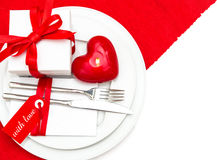 Table place setting decoration in red and white Stock Image