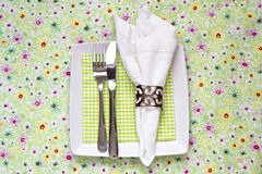 Table Place Setting For Spring Stock Photo