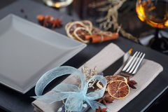 Table place setting with holidays decoration Stock Images