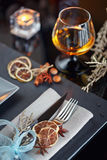 Table place setting with holidays decoration Royalty Free Stock Photo