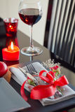 Table place setting with holidays decoration. Stock Photo