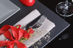 Table place setting with holidays decoration. Royalty Free Stock Image