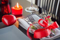 Table place setting with holidays decoration. Stock Photos
