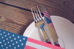 Table place setting for 4th of July celebration Royalty Free Stock Photography