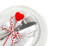 Table place setting for Valentine's Day Royalty Free Stock Images
