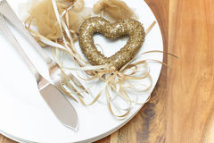 Table place setting for Valentines day Royalty Free Stock Images