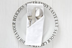 Table place setting in white Stock Images