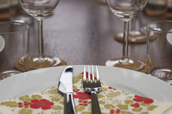 Table place settings Stock Image