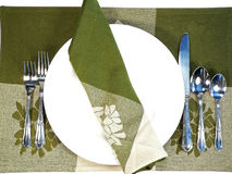 Table Placesetting. A colorful formal table setting for a dinner or banquet Stock Image