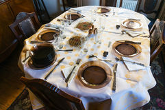 Table with plates Royalty Free Stock Image