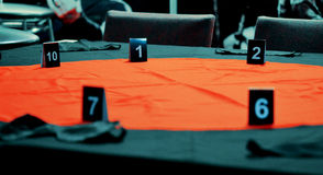 Table for playing Mafia Stock Photo