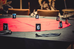 Table for playing Mafia Stock Image