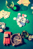 Table for poker with cards and chips Royalty Free Stock Images
