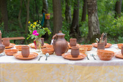 Table with pottery Royalty Free Stock Images