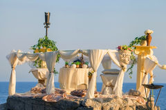 Table prepared for romantic date. Stock Image