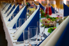 Table prepared for wedding banquet Royalty Free Stock Photography