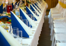 Table prepared for wedding banquet Royalty Free Stock Photos