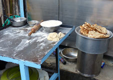 Table for preparing chapati at streetside restaurant in Delhi, I Royalty Free Stock Photography