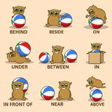 Table of prepositions of place with funny animal character. English for children. Educational visual material for kids