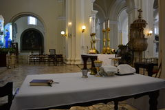The table of the priest inside the cathedral of Leon, Nicaragua royalty free stock photos