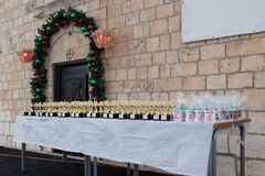 Table with prizes for participants of the annual race `Cristmas Run` in Mi`ilya in Israel Royalty Free Stock Photography