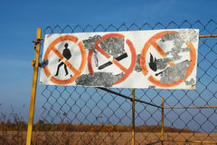 Table with prohibitive signs Stock Images