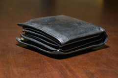 Table purse with money Stock Photo