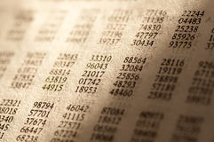 Table of Random Numbers. In Statistics - retro look Stock Images