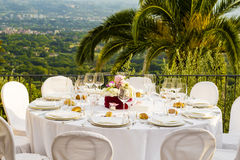The Table is ready to receive guests Royalty Free Stock Images