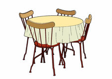Table and red chairs. Vector Illustration furniture,  EPS 8 file Stock Illustration