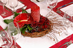 Table with Red roses and candle Stock Photography
