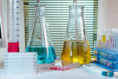 Table research laboratory with equipment chemical, test tubes, f Stock Images