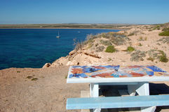 Table at the rest area. Cliffs and table at the rest area, South Australia Royalty Free Stock Image