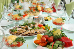 Table at restaurant. Covered by a holiday Stock Photography