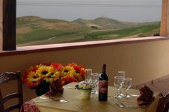 Table restaurant. Table in balcony with panorama stock photos