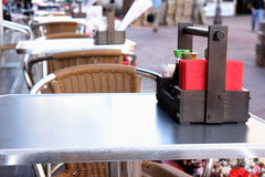 Table at restaurant. In the street Royalty Free Stock Images