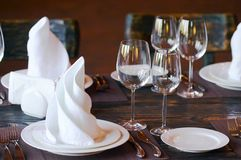 Table in restaurant stock photography