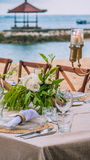 Table in the Restaurant on the Beach, Bali Royalty Free Stock Photo