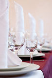 Table in a restaurant with glasses Royalty Free Stock Images