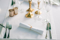 A table in a restaurant near the sea Stock Photography